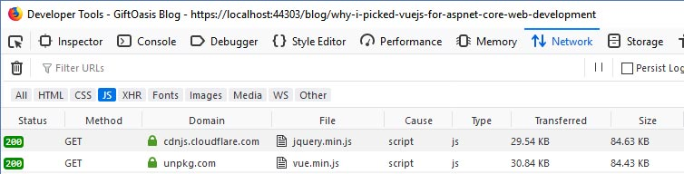 Download size of JQuery and Vue